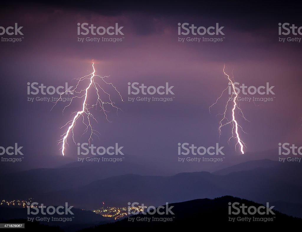 Smashing lightning during a storm over the city royalty-free stock photo