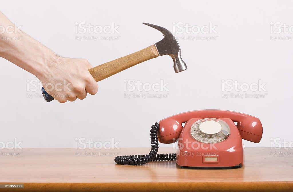 smashing telephone royalty-free stock photo