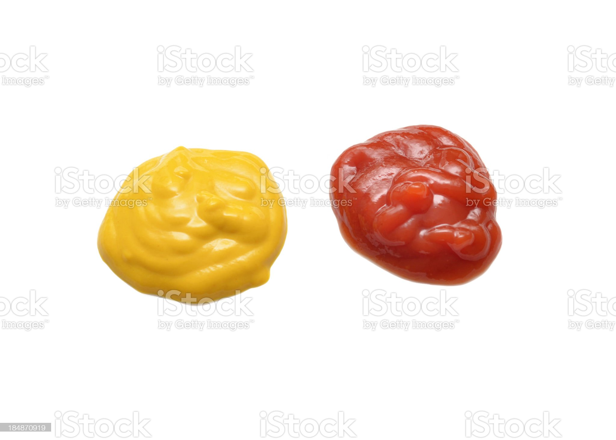 Smear of ketchup and mustard on white background royalty-free stock photo