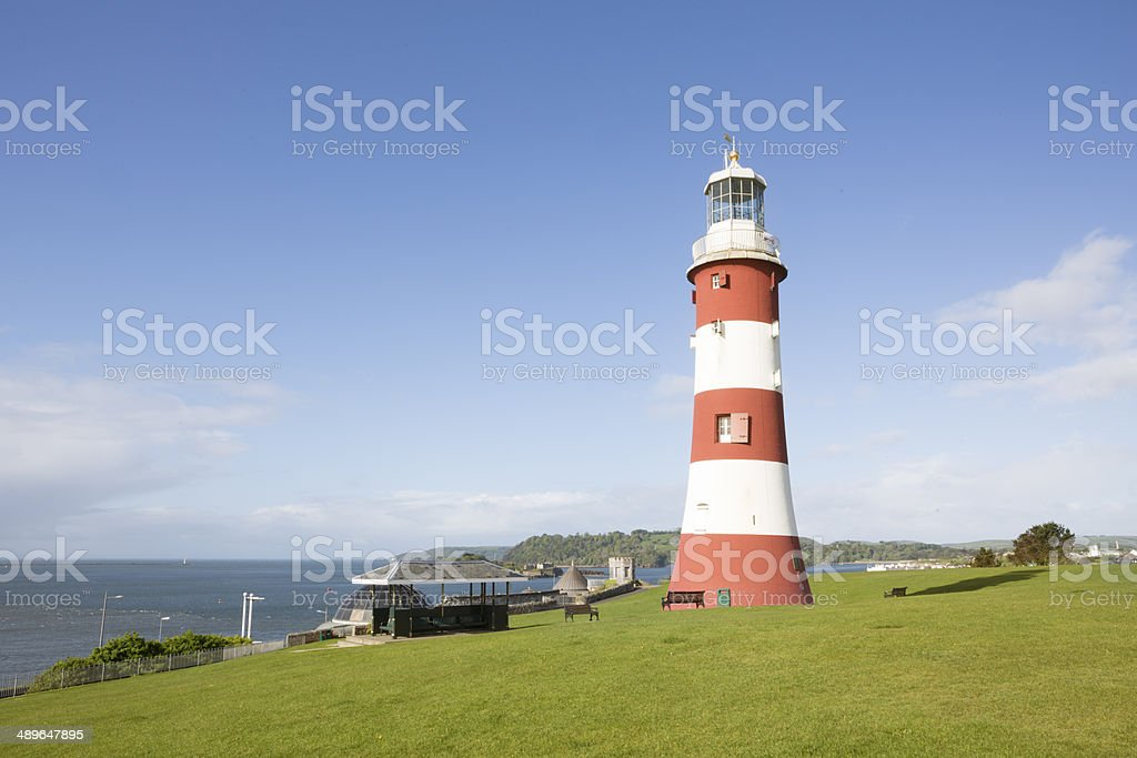 Smeaton Tower lighthouse on Plymouth Hoe stock photo