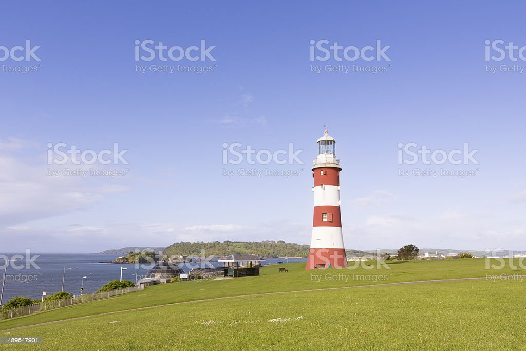 Smeaton Tower lighthouse on Plymouth sea front stock photo