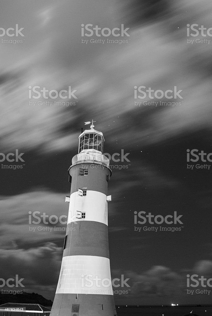 Smeatons tower in Plymouth at night with star trails royalty-free stock photo