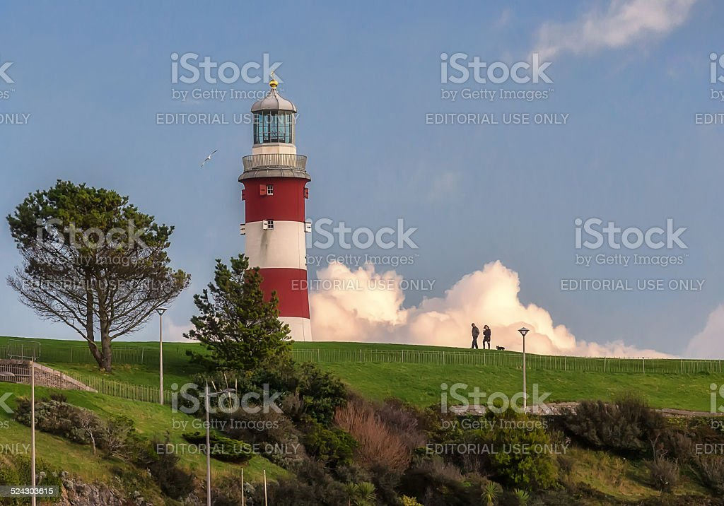 Smeaton's Tower lighthouse in Plymouth, UK stock photo
