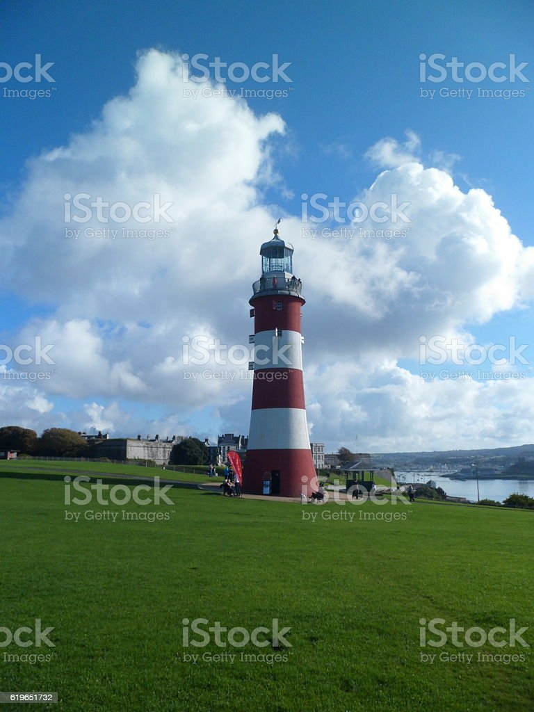 Smeaton's Tower lighthouse on Plymouth Hoe stock photo