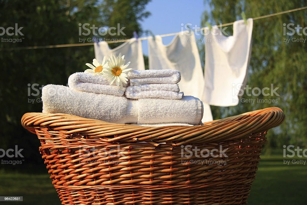 Smell of fresh towels stock photo