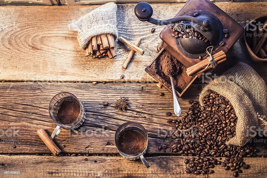 Smell of freshly grinded coffee stock photo