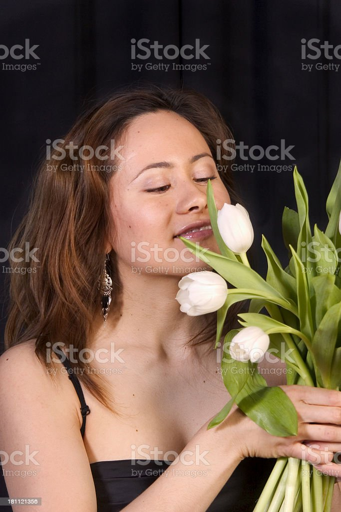 smell the flowers royalty-free stock photo
