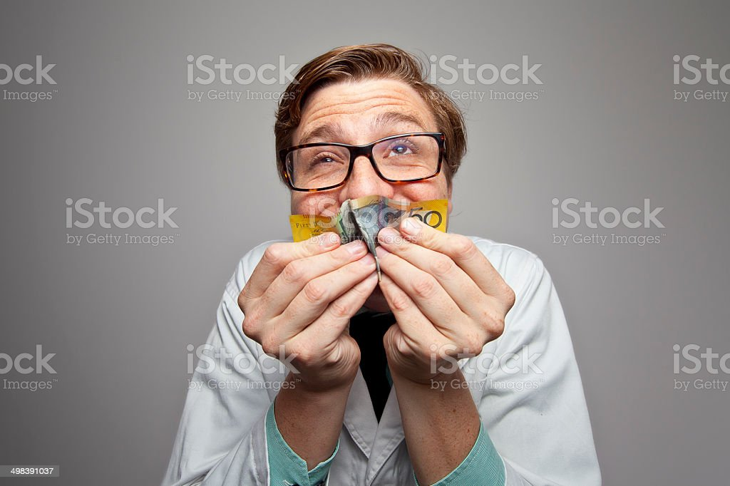 Smell the money! stock photo