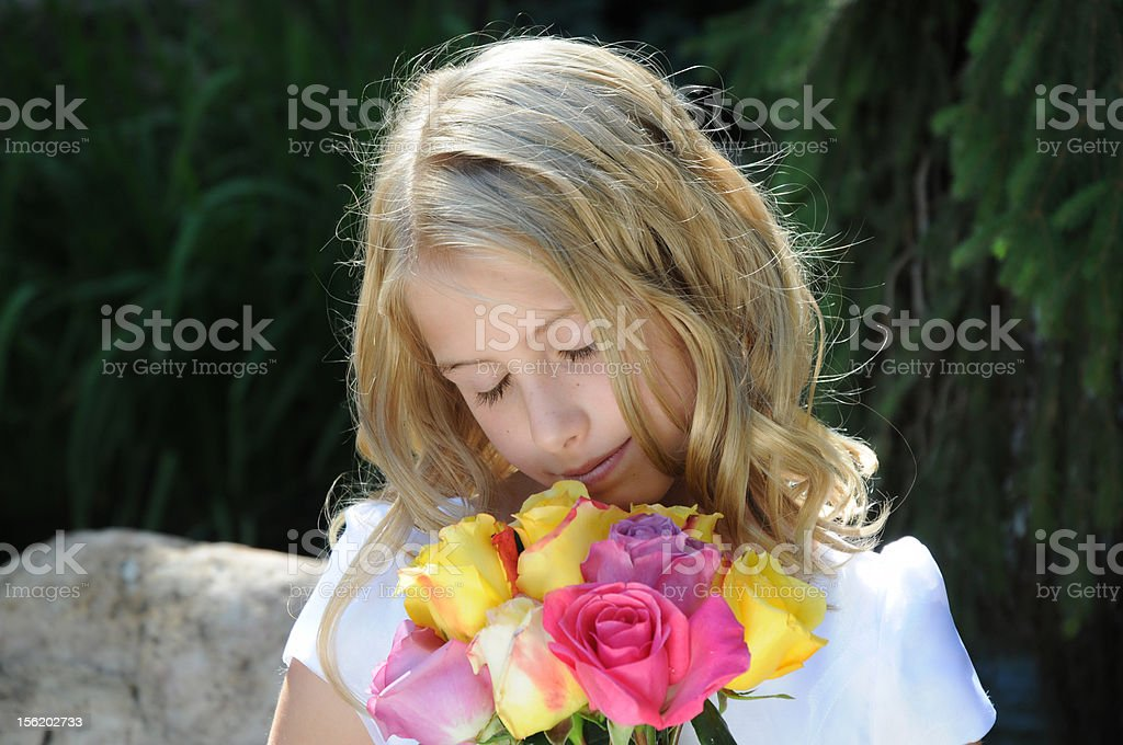 Smelling Roses stock photo