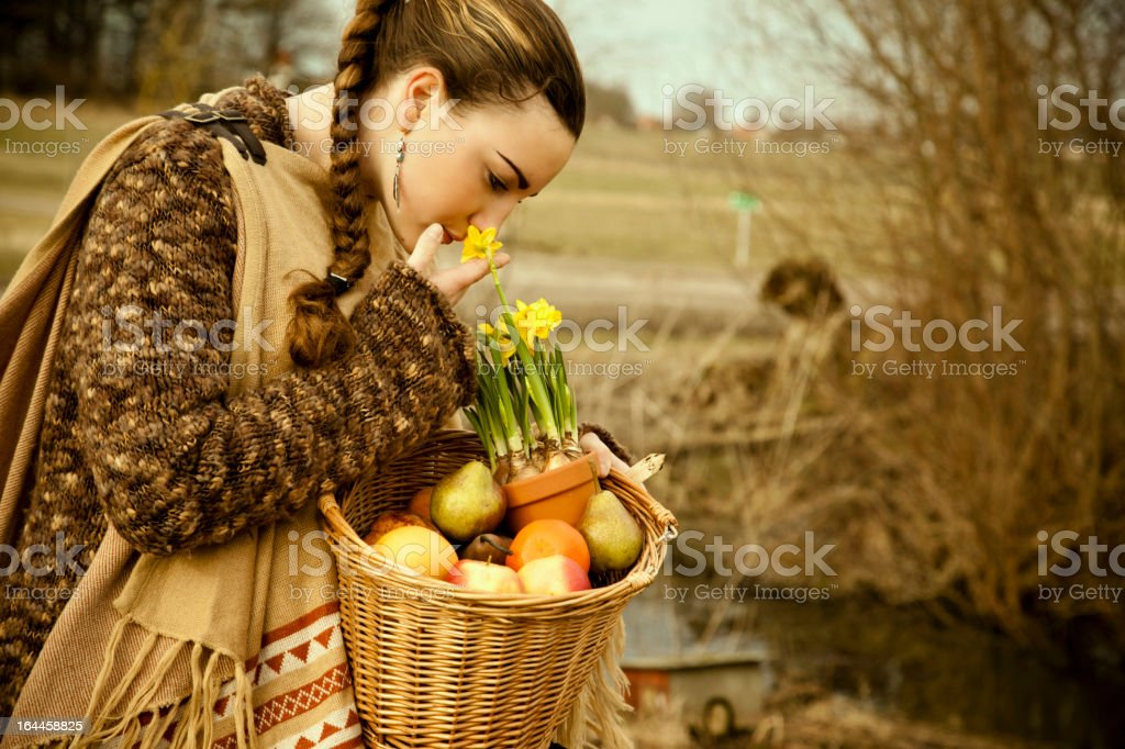 Smelling Spring royalty-free stock photo