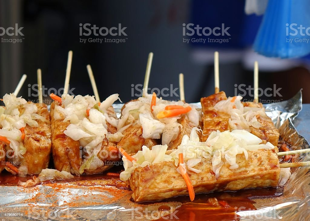 Smelly Fermented Tofu with Pickled Cabbage stock photo