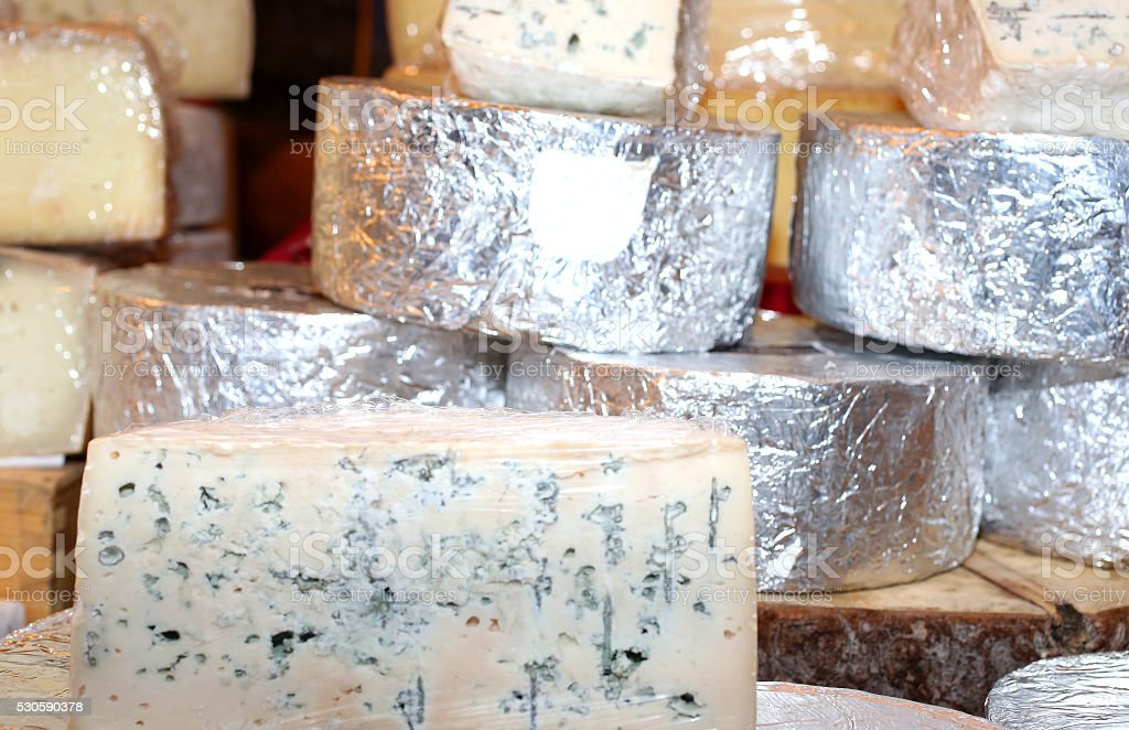smelly Gorgonzola cheese typical of northern Italy stock photo
