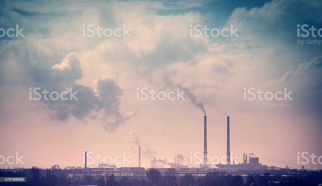 Smelter smoke from the chimneys stock photo