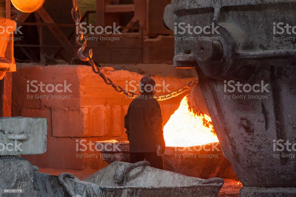 Smelting metal liquid iron foundry royalty-free stock photo