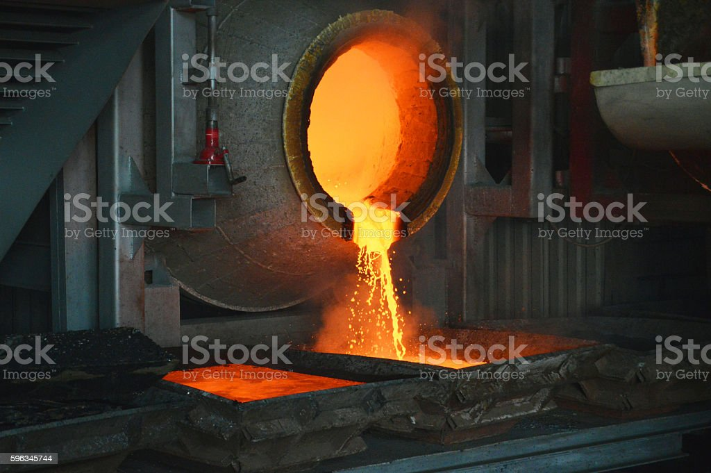 smelting of lead in the metallurgical furnace stock photo