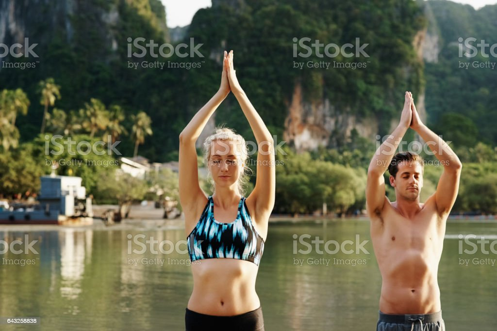 Smile and breathe in every pose stock photo