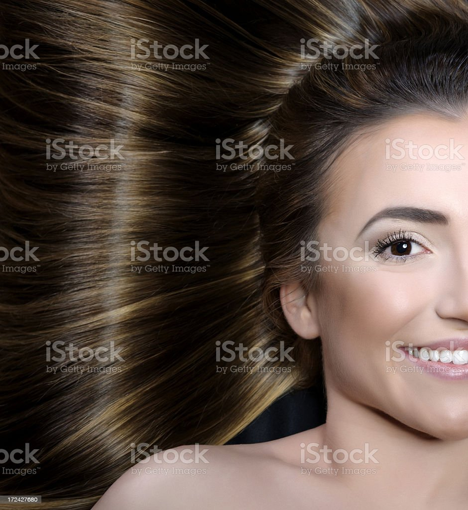 smile and brown hair royalty-free stock photo