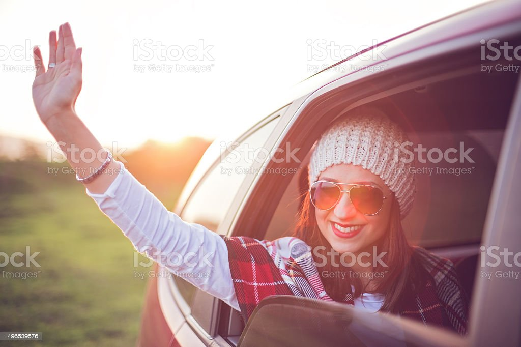 Smile and wave stock photo