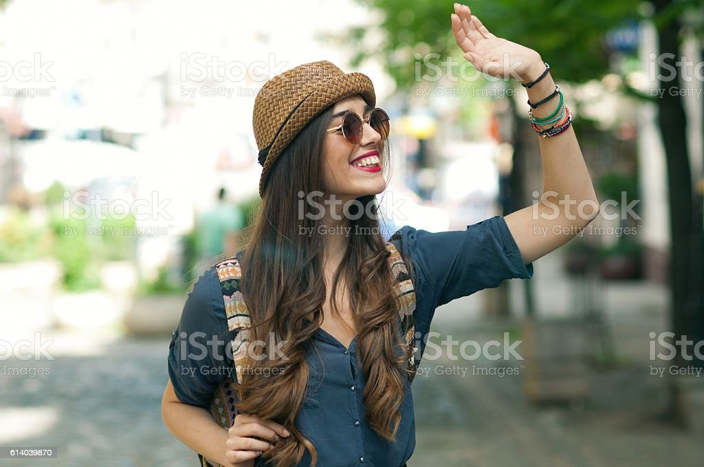 Smile and wave. stock photo
