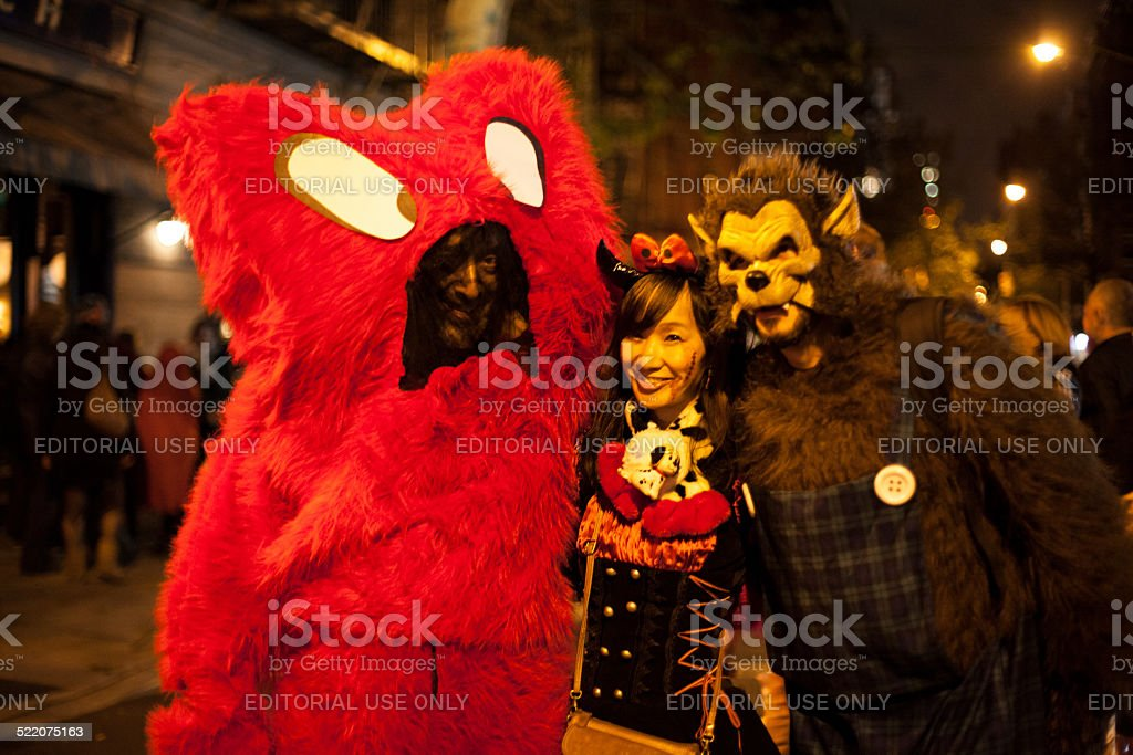 Smile at the camera. 2014 Halloween NYC stock photo