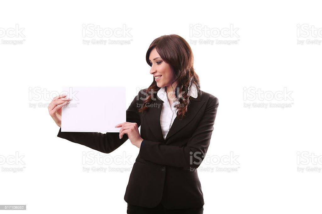 Smile Business woman portrait with blank white banner, board on royalty-free stock photo
