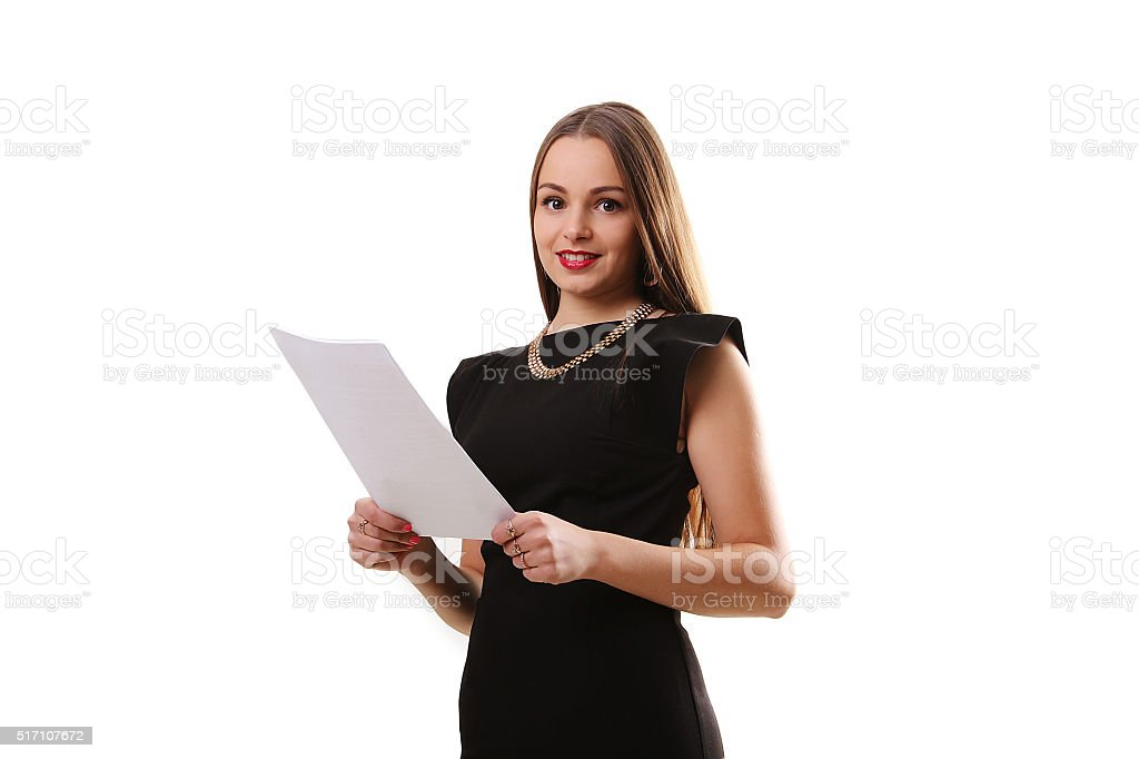 Smile Business woman portrait with blank white board on white royalty-free stock photo