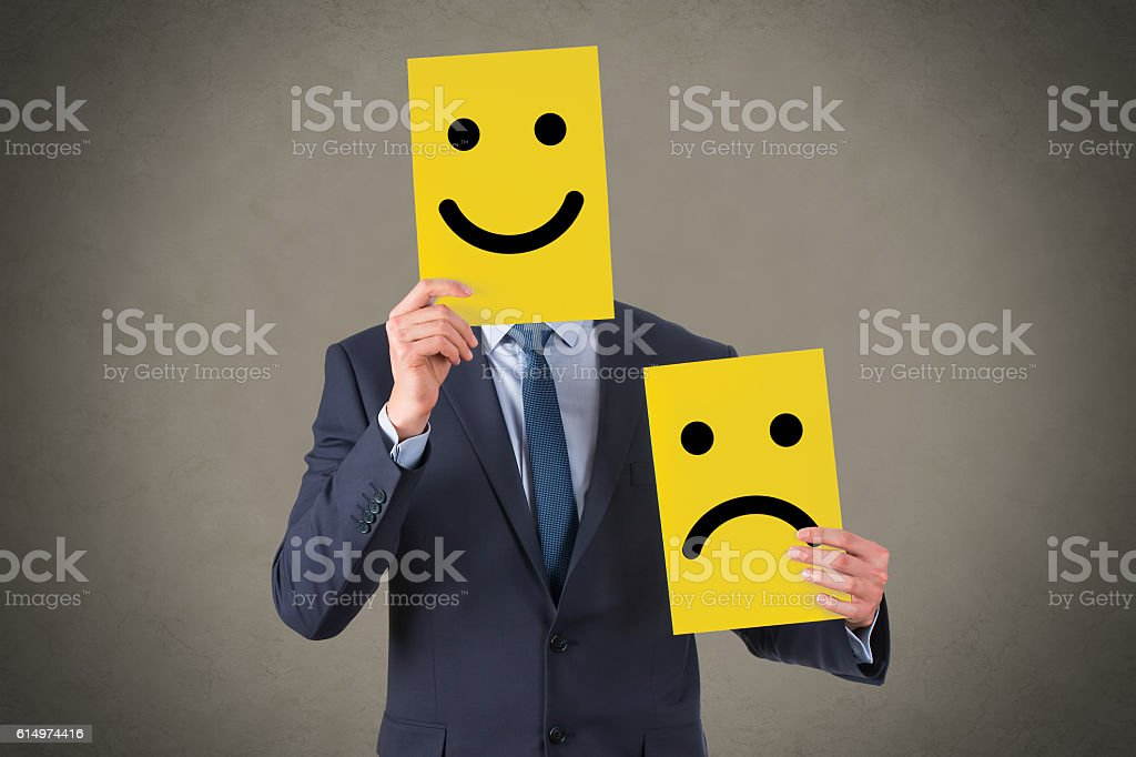 Smile Face Drawing on Cardboard stock photo