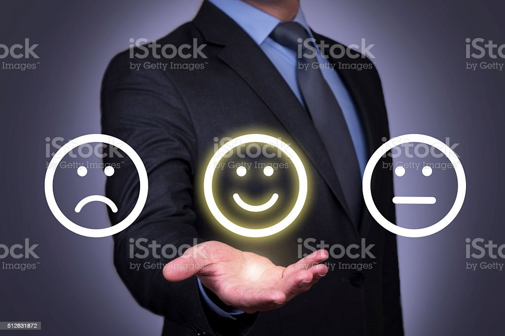 Smile Face on Human Hand stock photo