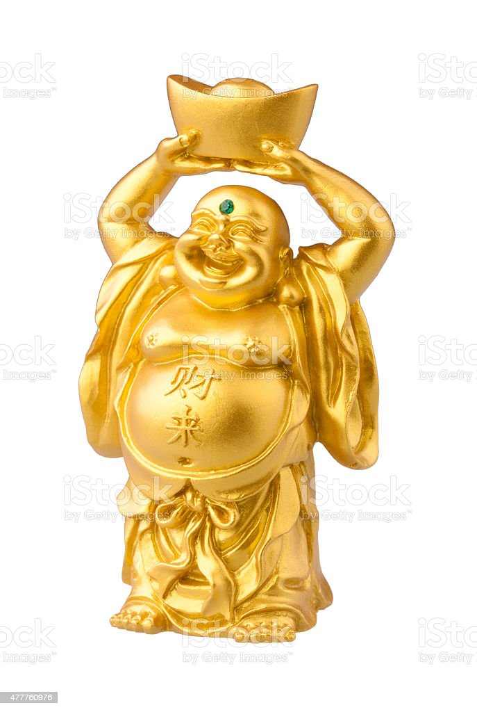 Smile fat buddha statue stock photo