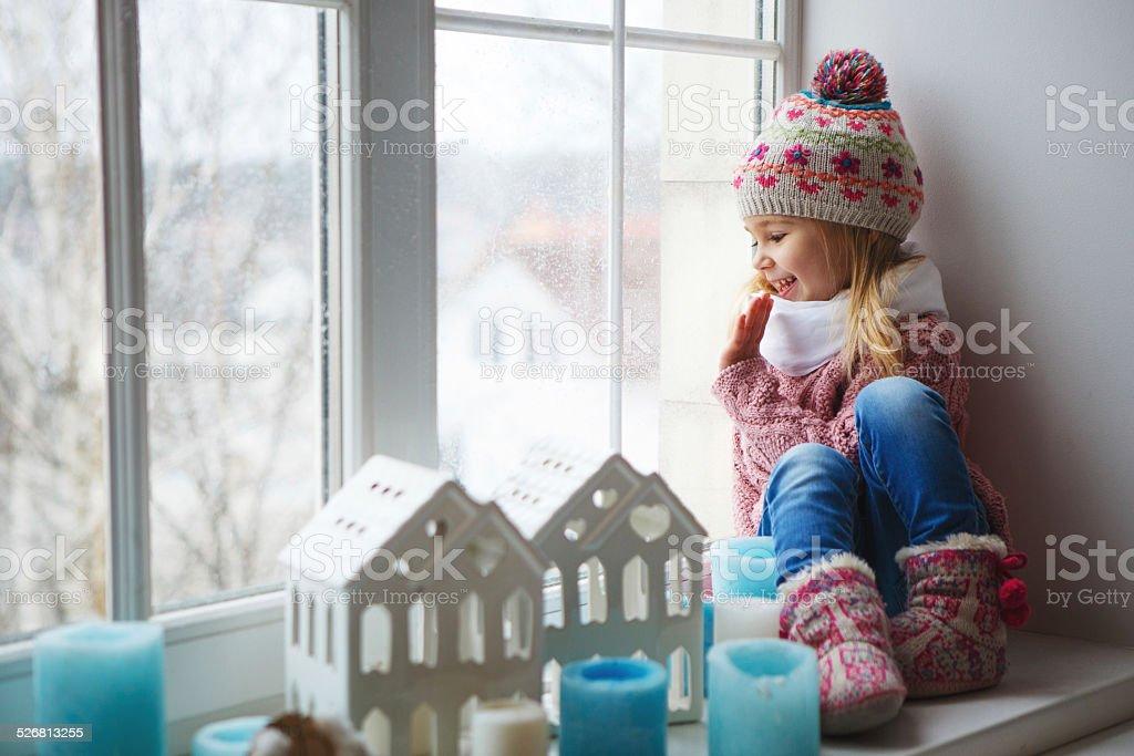 Smile funny little girl stock photo