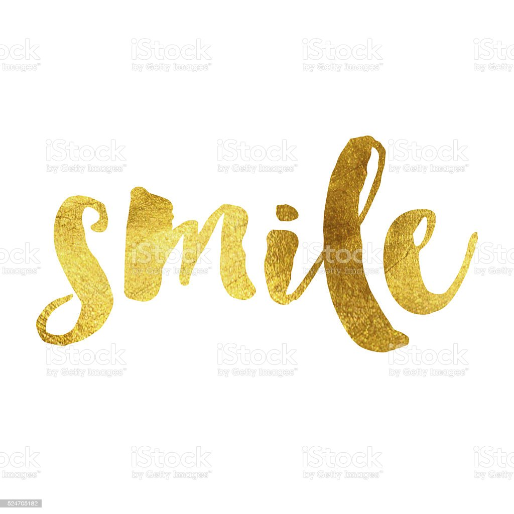 Smile gold foil message stock photo