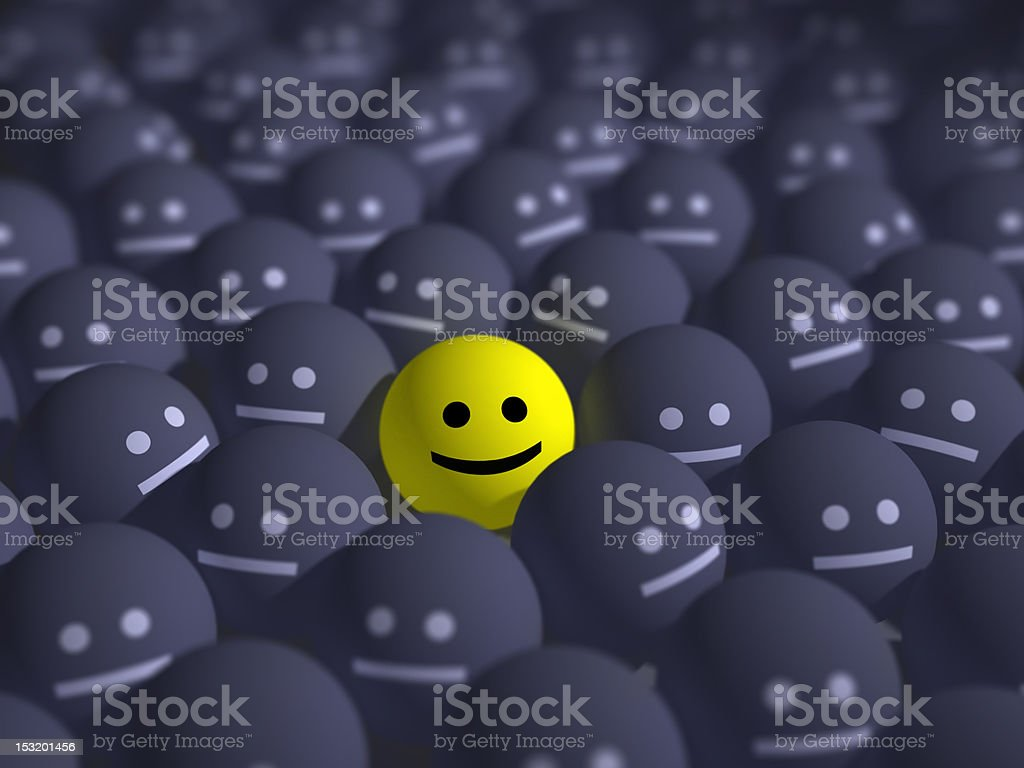 smile in the middle of grey crowd royalty-free stock photo