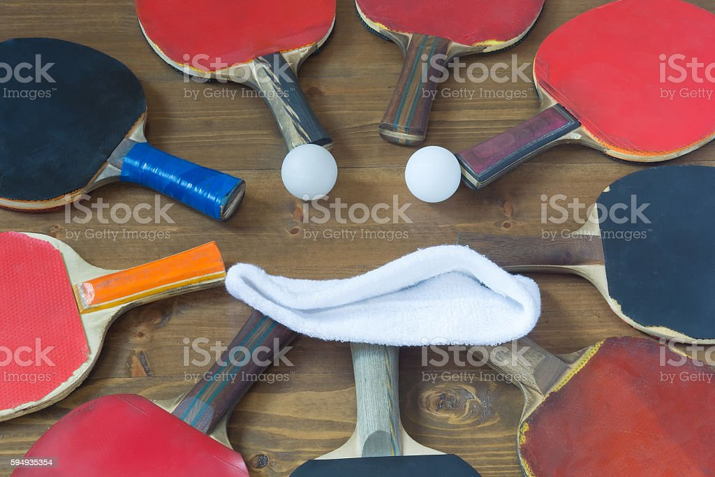 Smile in the old rackets for table tennis stock photo
