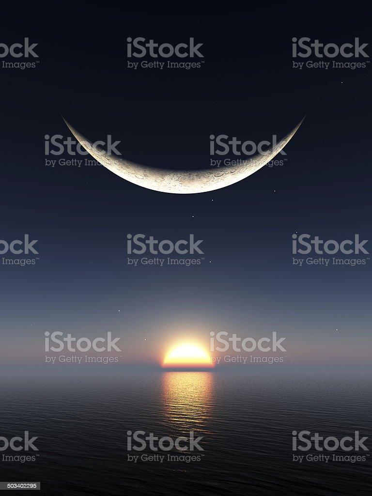 Smile Moon Sunrise stock photo