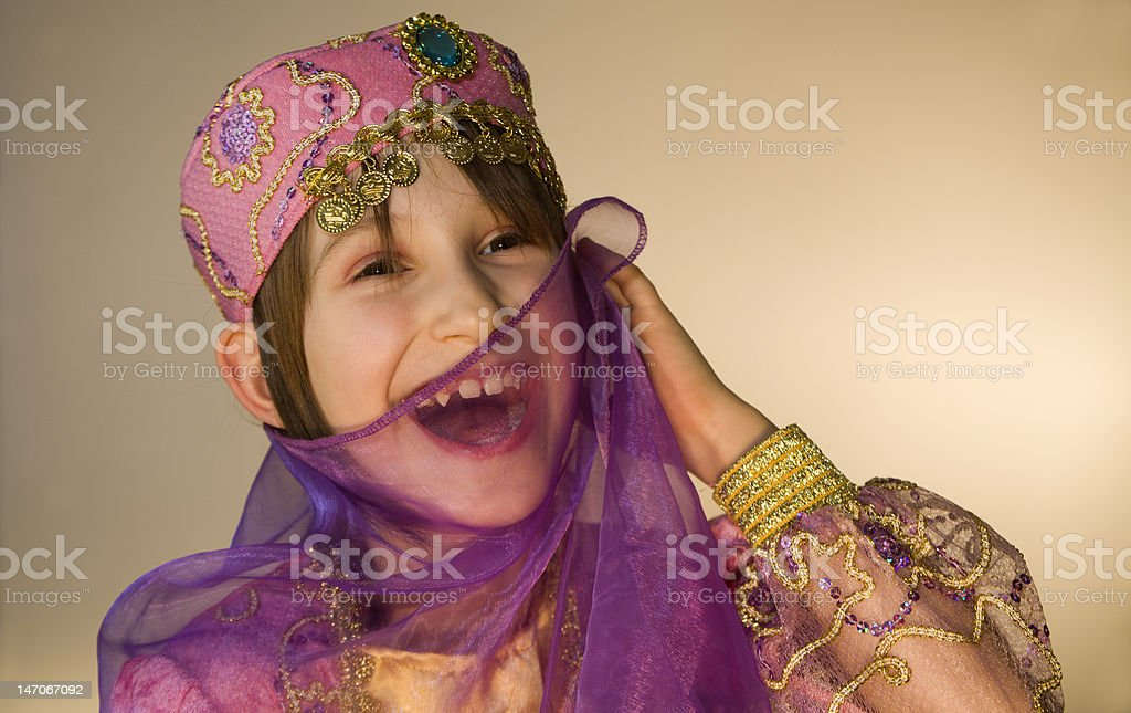 smile of little gir in the carnival clothes royalty-free stock photo