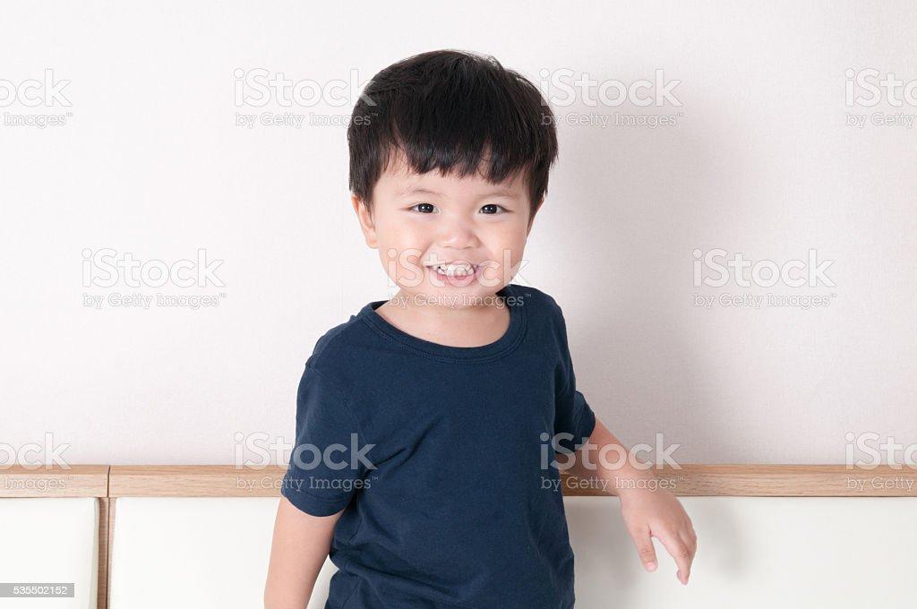 Smile toddler boy portrait stock photo