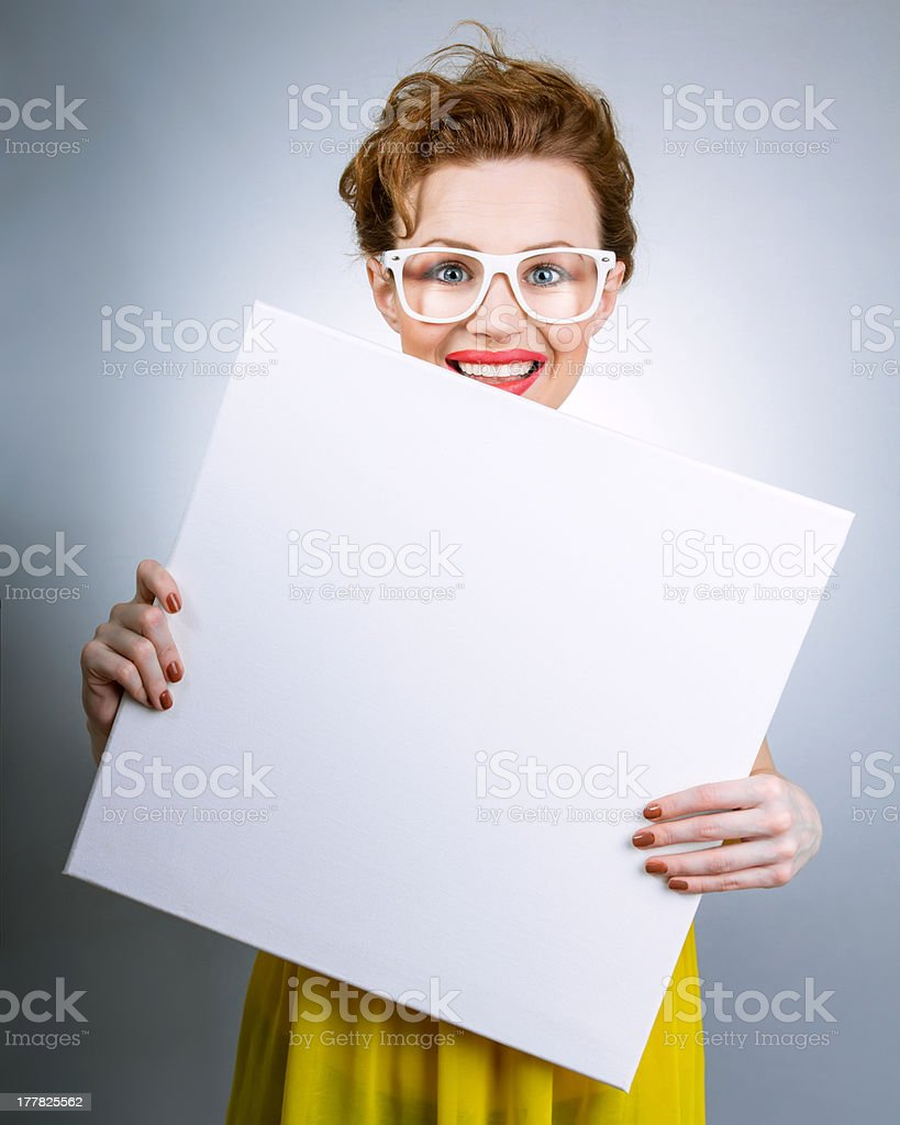 Smile woman holding panel stock photo