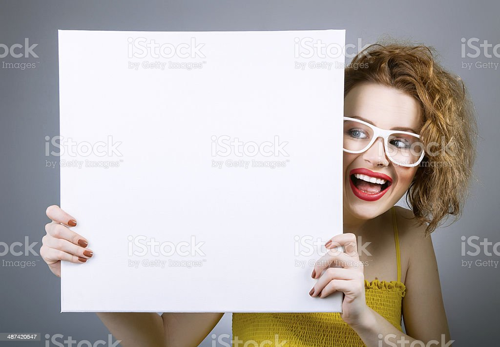 Smile woman with blank white board stock photo
