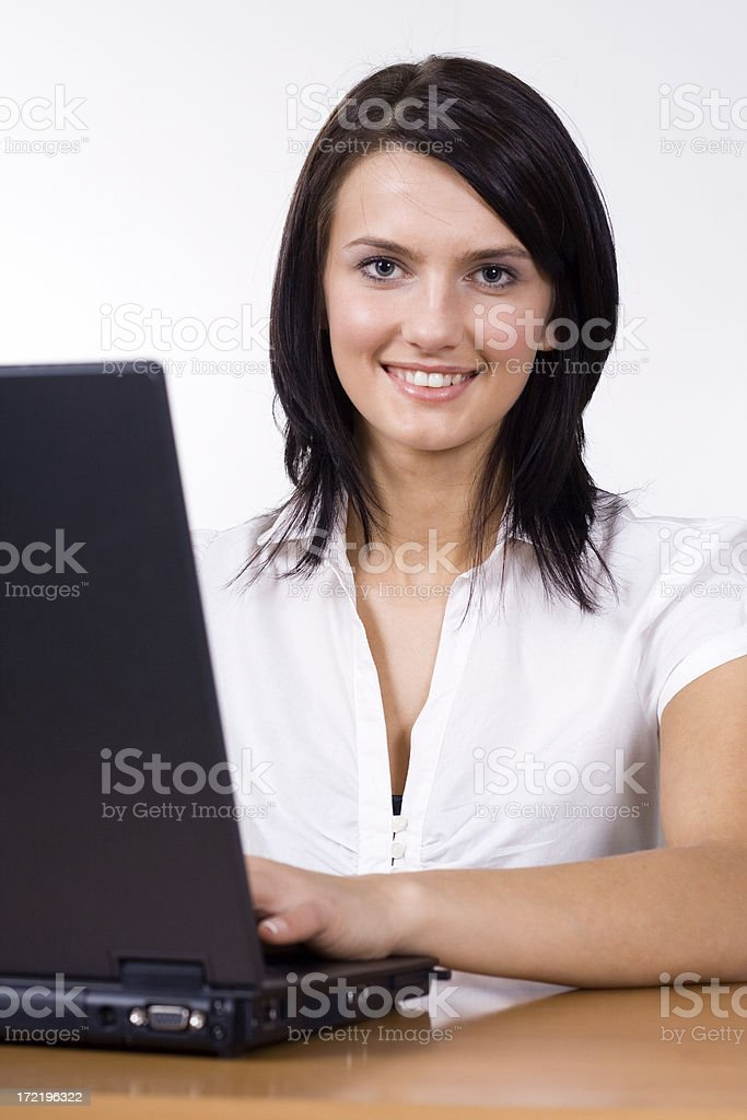 Smiled Girl and laptop royalty-free stock photo
