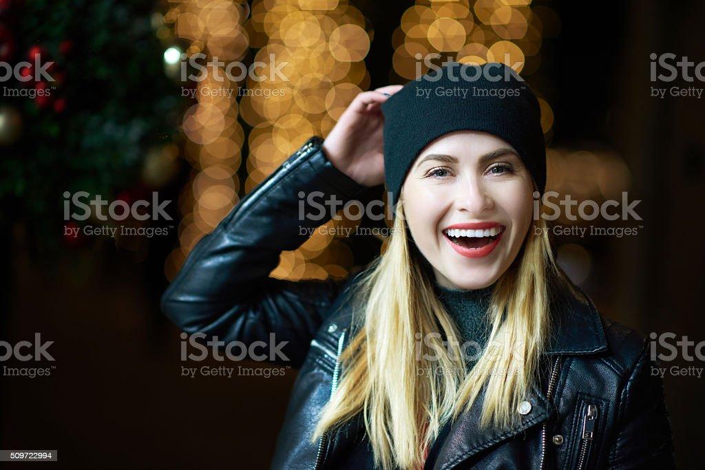 smiles in the night stock photo