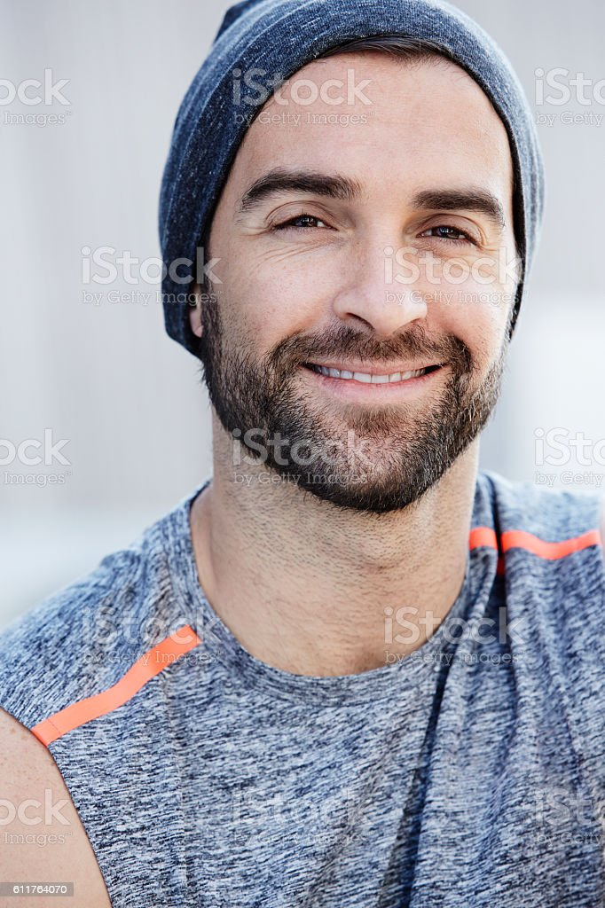 Smiley beard guy stock photo