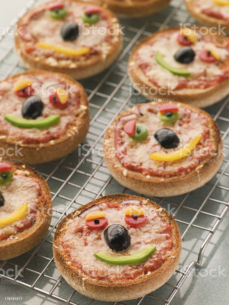 Smiley Faced Pizza Muffins royalty-free stock photo