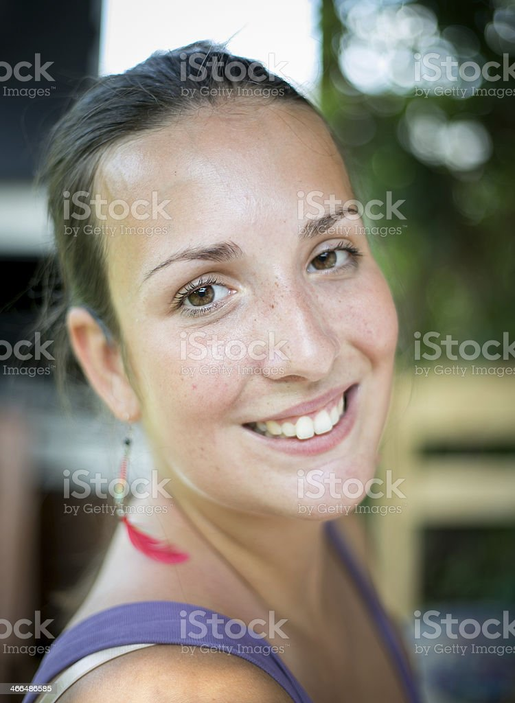 Smiley girl stock photo