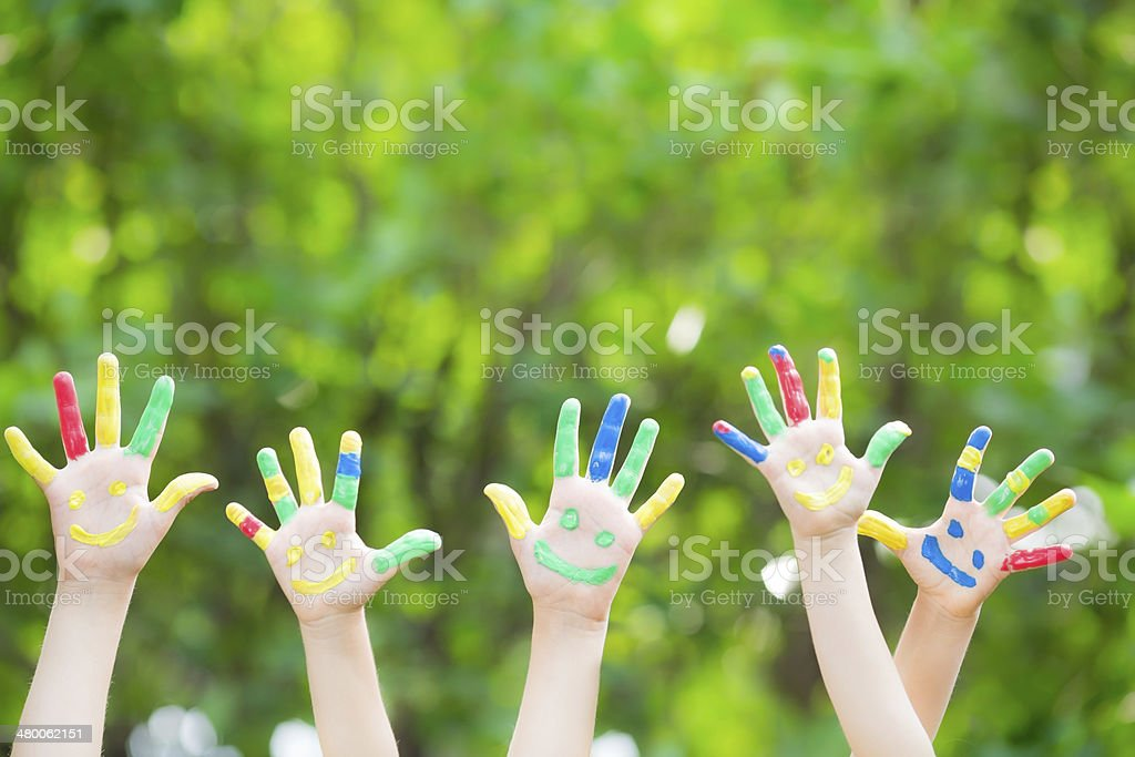 Smiley hands stock photo