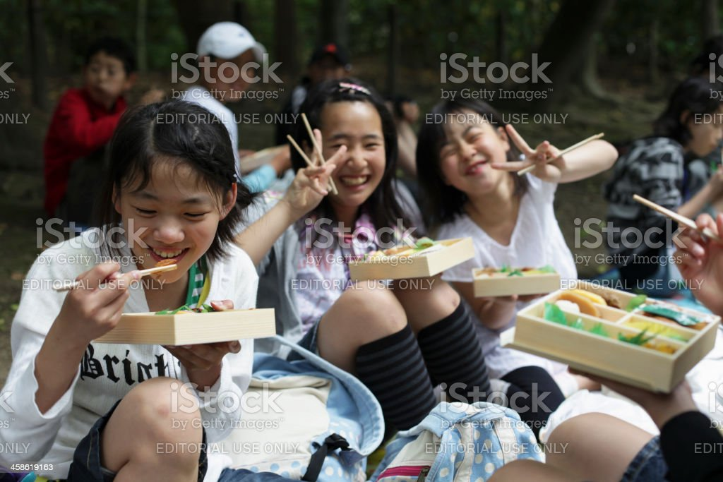 Smiley  Japanese Students at Field Trip stock photo