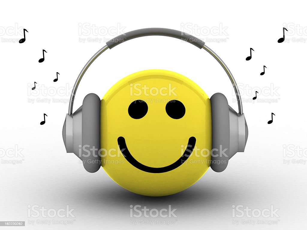 Smiley Listening Music stock photo