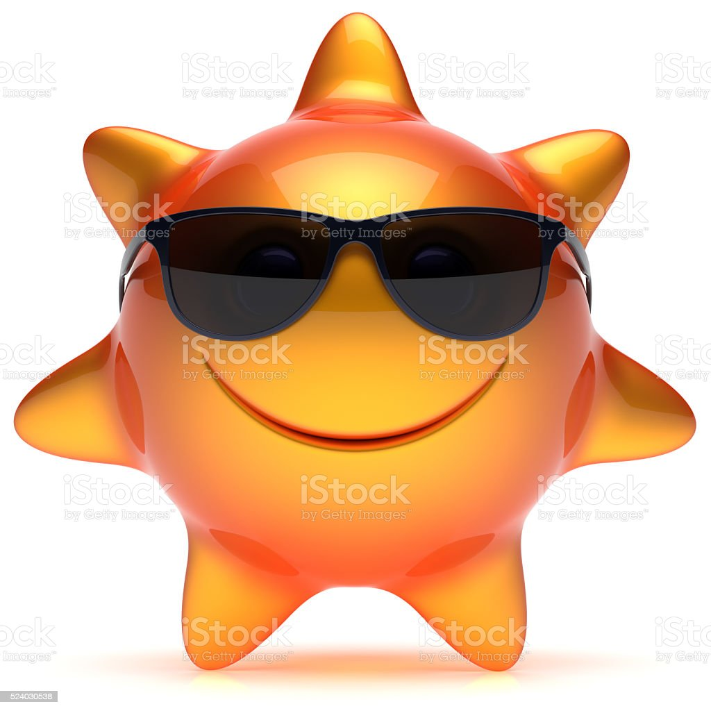 Smiley sun star face sunglasses summer smile cartoon emoticon stock photo