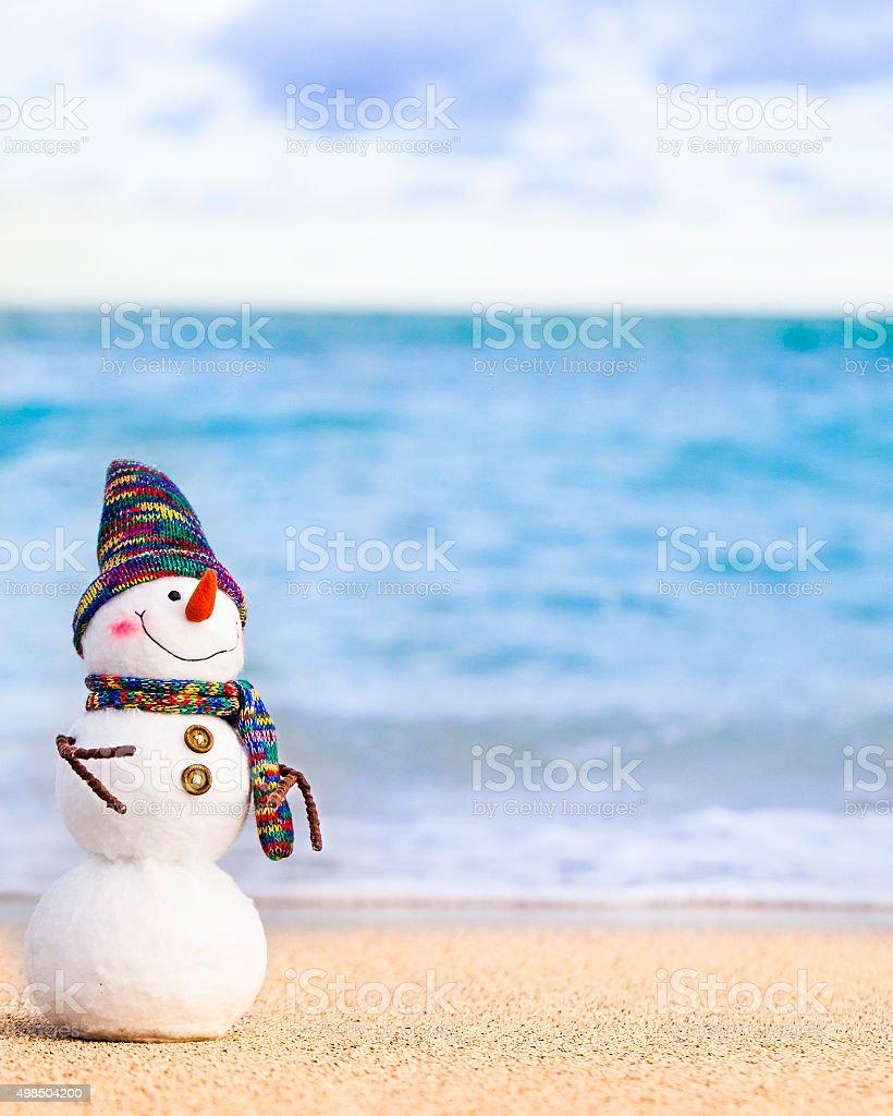 Smiley toy snowman stock photo
