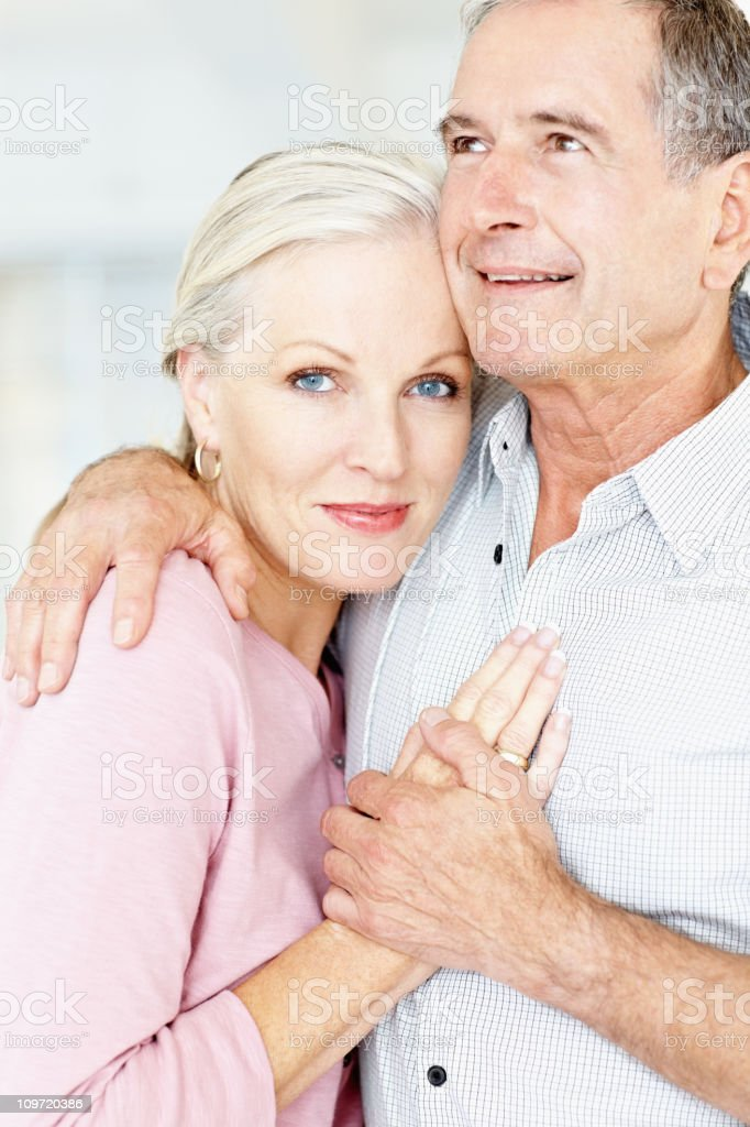 Smiling affectionate man and woman embracing each other royalty-free stock photo