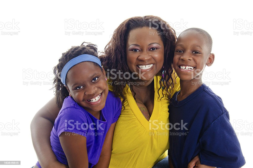 Smiling African Ameican Mother and Twins Hugging Isolated on White stock photo